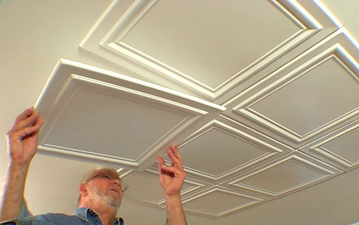 p\u003eEmbossed polystryrene foam ceiling tiles are easy to install while