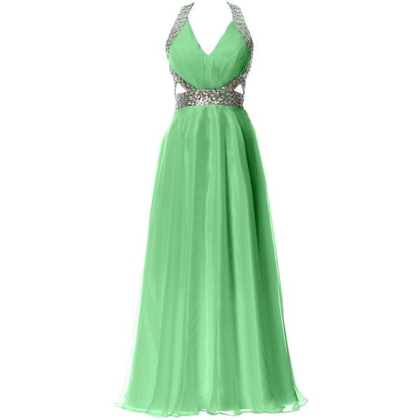 MACloth Women Halter V Neck Long Homecoming Dress Wedding Party Formal...  ($149) ❤ liked on Polyvore featuring dresses, gowns, green formal gown, ...