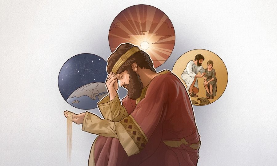 A man holds dust in his hand and contemplates the starry heavens, the sun, and a father's compassion for his son