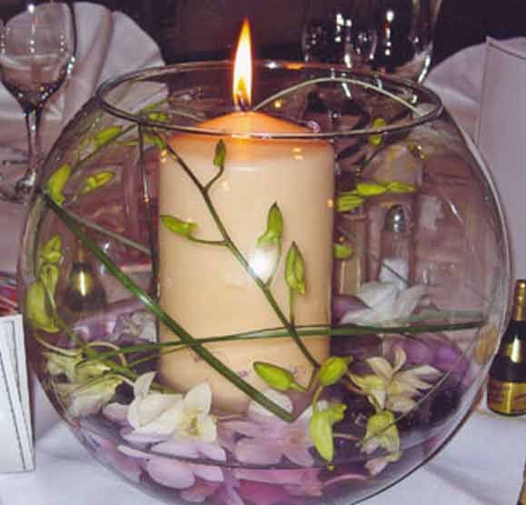Pillar Candle With Freesia In Fish Bowl Lighted Centerpieces Simple Centerpieces Table Top Decor