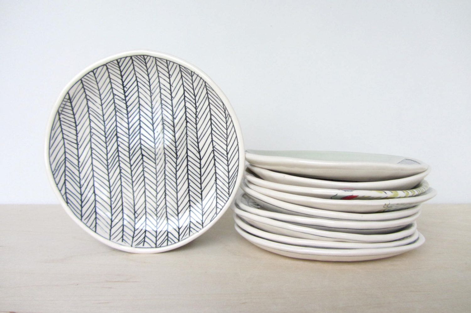 Ceramic Herringbone Patterned Canape/Dessert Plate - Ready to Ship : modern design plates - pezcame.com