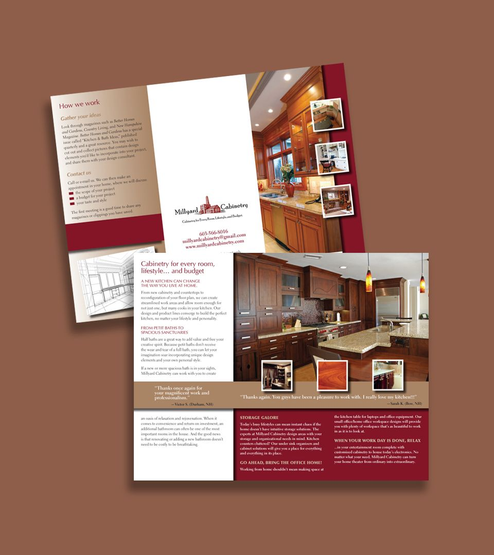 Brochure Designed For Millyard Cabinetry In Manchester Nh Cabinets For Every Room Lifestyle And Budget Brochure Design Cabinetry Design