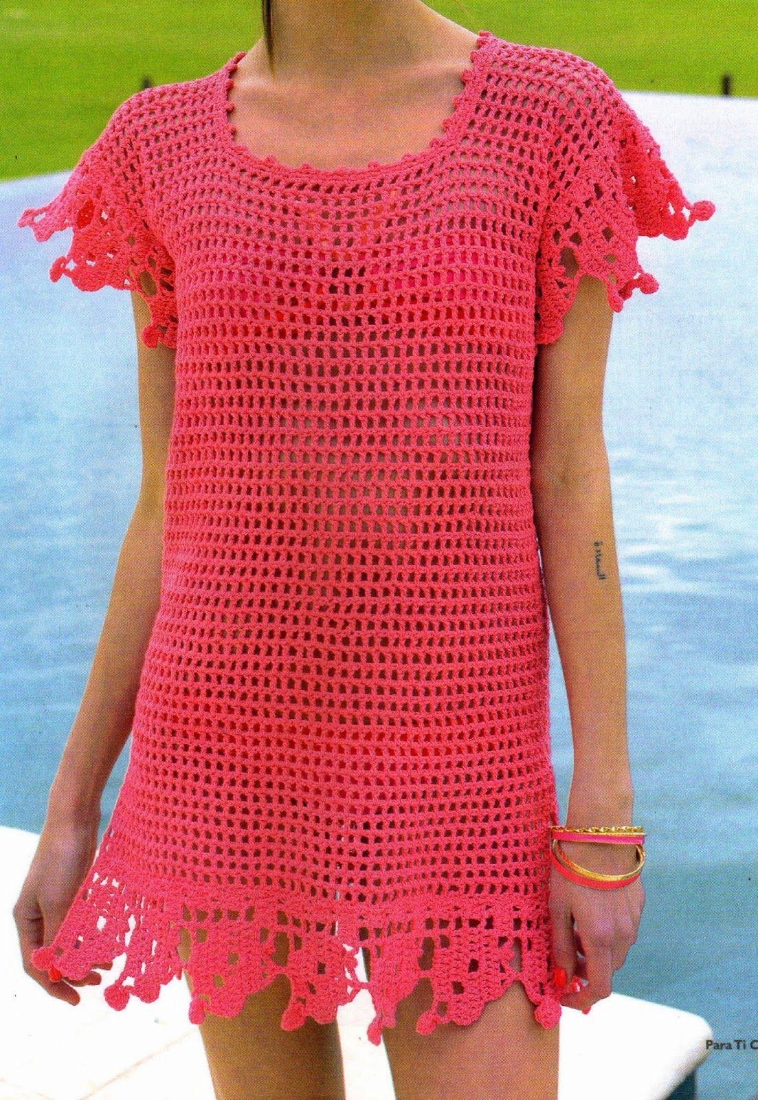 tejidos al crochet paso a paso con diagramas: Camisola calada tejida ...