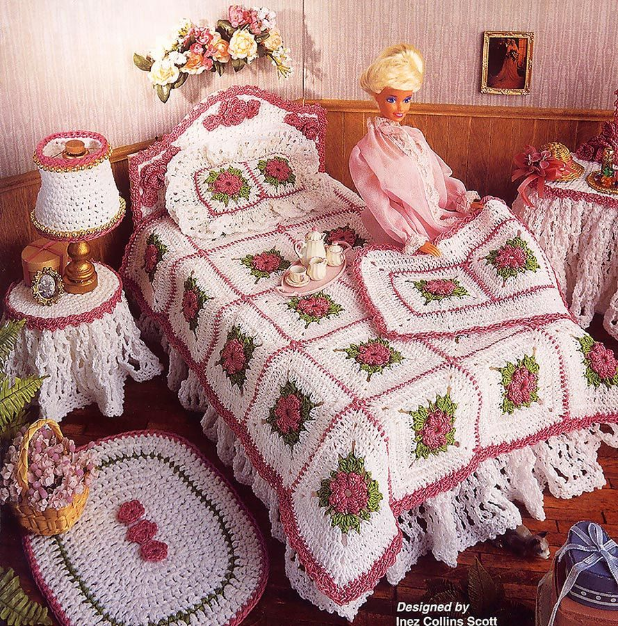 Fashion Doll Bedroom Rug Pillow fits Barbie Annie/'s Crochet Pattern Leaflet