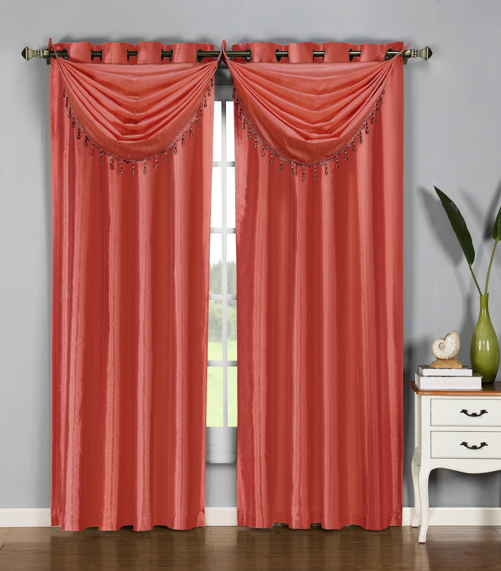Jamie faux silk waterfall window curtain valance curtains