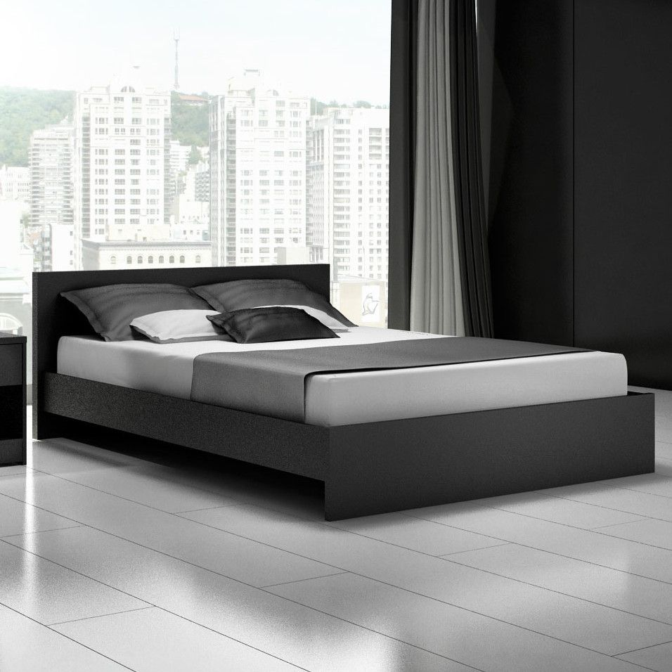 Modern black queen platform bed frame cool designs queen for Modern bed designs