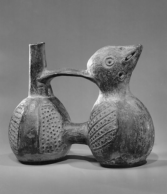 Whistling Jar Period: Late Intermediate (Chimu) (Pre-Columbian) Date: 1000–1476 Geography: North Coast, Peru Culture: Chimu Medium: Mold-form clay Dimensions: Overall: 16 x 9.5 x 19.6cm; wt. 67.3 g. (6 5/16 x 3 3/4 x 7 11/16in.; 2.3739 oz.) Classification: Aerophone-Blow Hole-vessel flute Credit Line: The Crosby Brown Collection of Musical Instruments, 1889 Accession Number: 89.4.689