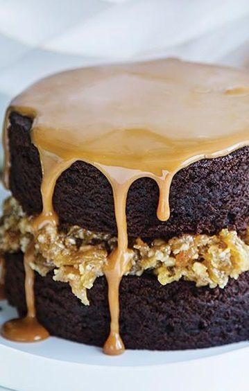 Espresso Brownie Layer Cake with Caramel Sauce Espresso Brownies