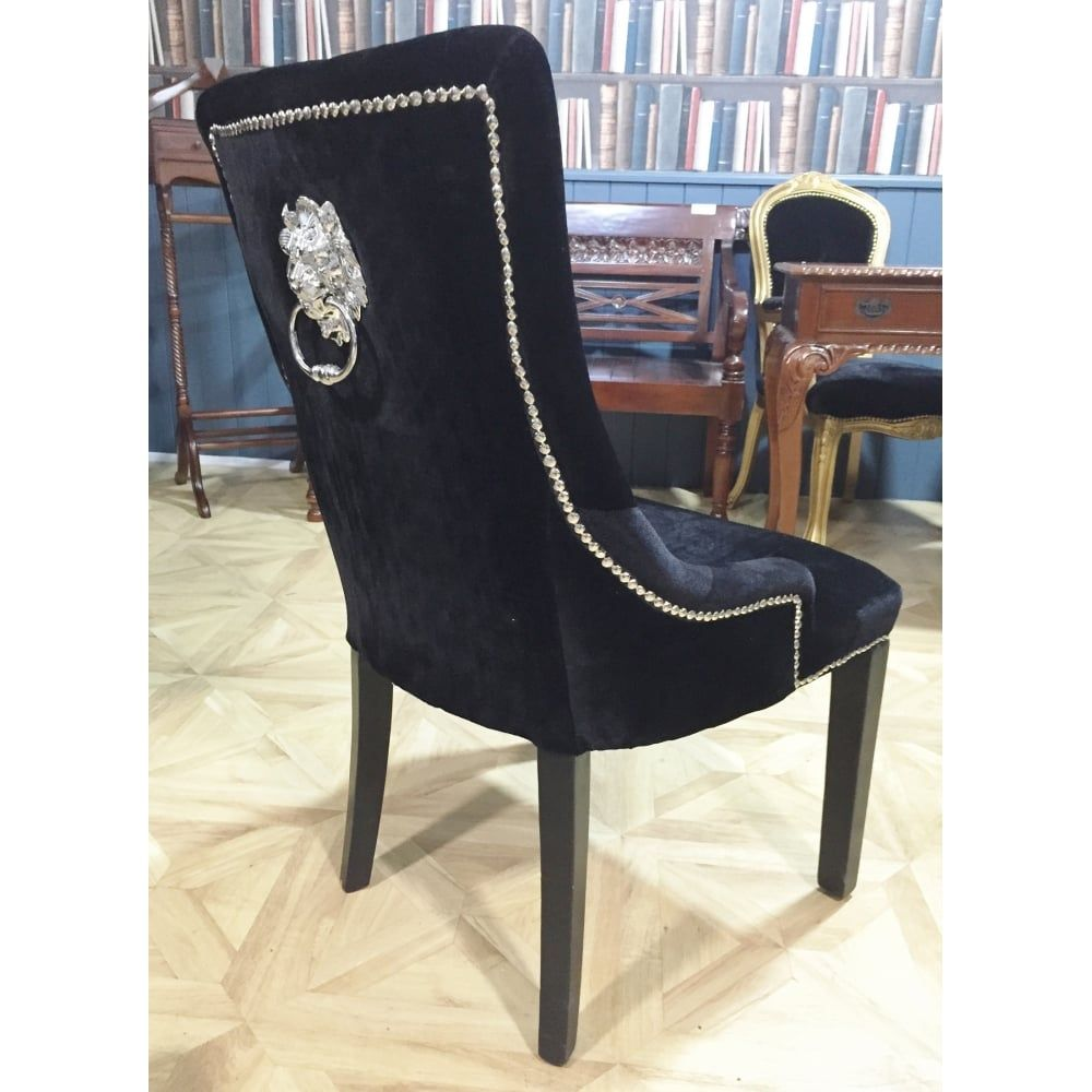 Curved Back Dining Room Chairs Glamorous Contemporary Upholstered Black Velvet Silver Lion Knocker Dining Design Inspiration