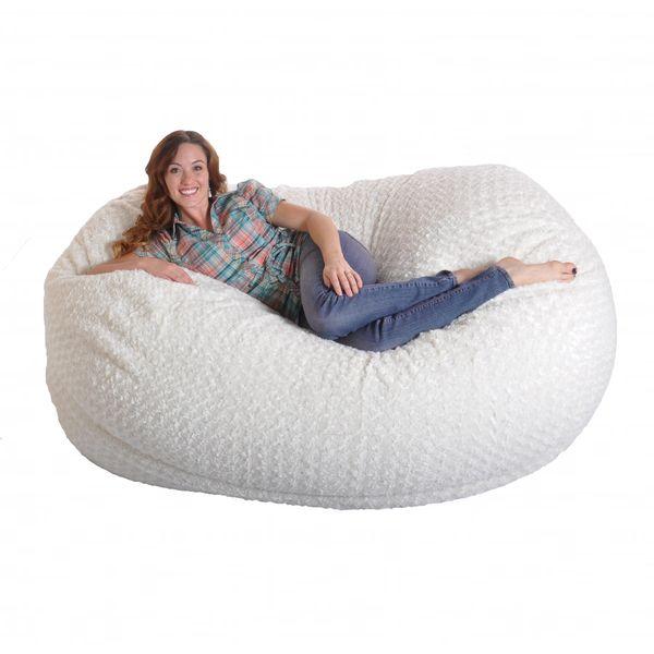 6 Foot Soft White Fur Large Oval Microfiber Memory Foam Bean Bag Chair