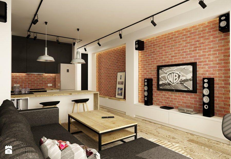 SOFT INDUSTRIAL NA BEMOWIE - Średni salon z kuchnią, styl industrialny - zdjęcie od design me too