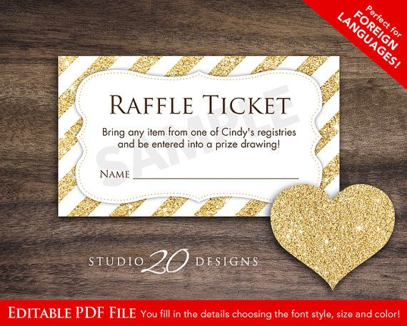 Instant Download Raffle Ticket, Editable PDF, DIY Printable Baby - raffle ticket