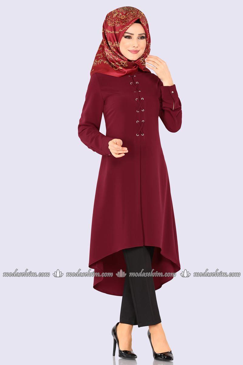 Moda Selvim Kus Gozu Detay Tesettur Tunik Pl872 Bordo Hijab Fashion 2019 Moda
