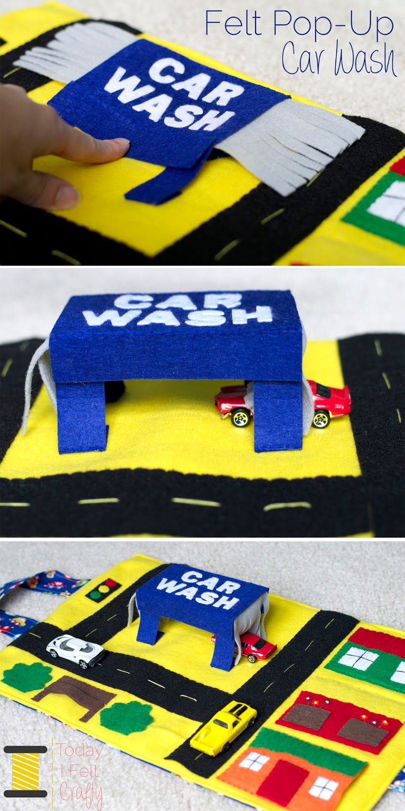 felt pop up car wash car play mat today i felt crafty