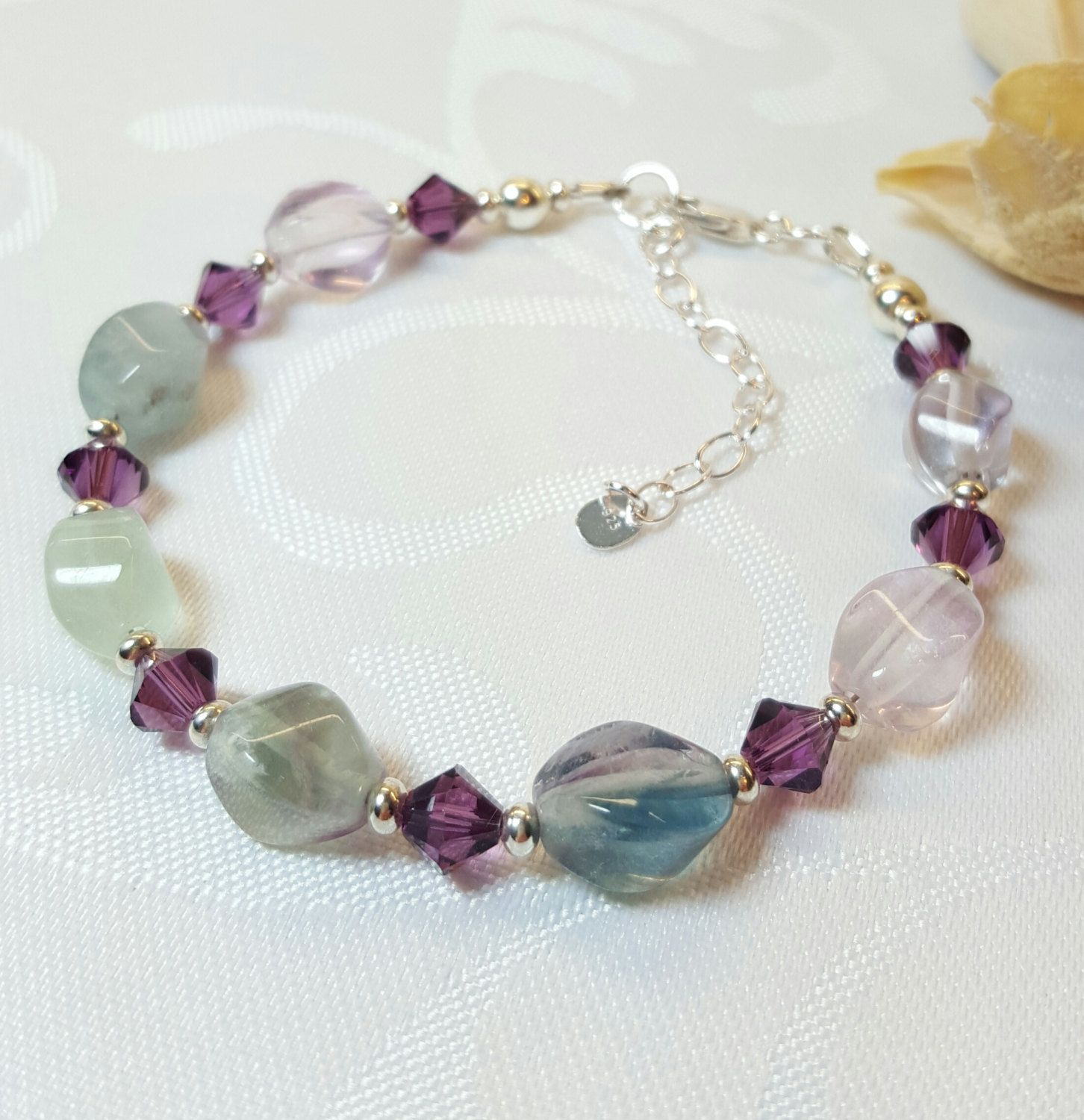 Sterling Silver & Sparkly Rainbow Pastels Crystals Handmade Bracelet Made With SWAROVSKI ELEMENTS 2 1CphUZy