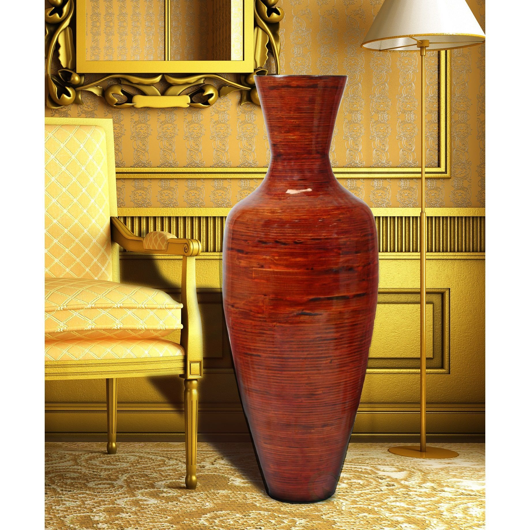 Basicwise 37 5 Tall Bamboo Floor Vase Glossy Red Glossy Red