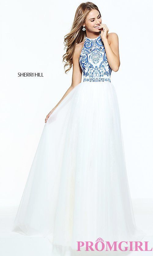 Ivory and Blue Long Sherri Hill Dress | Look-book | Pinterest ...