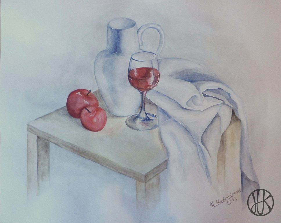 Painting still life #apple #wine #stilllife #draúping #pitcher
