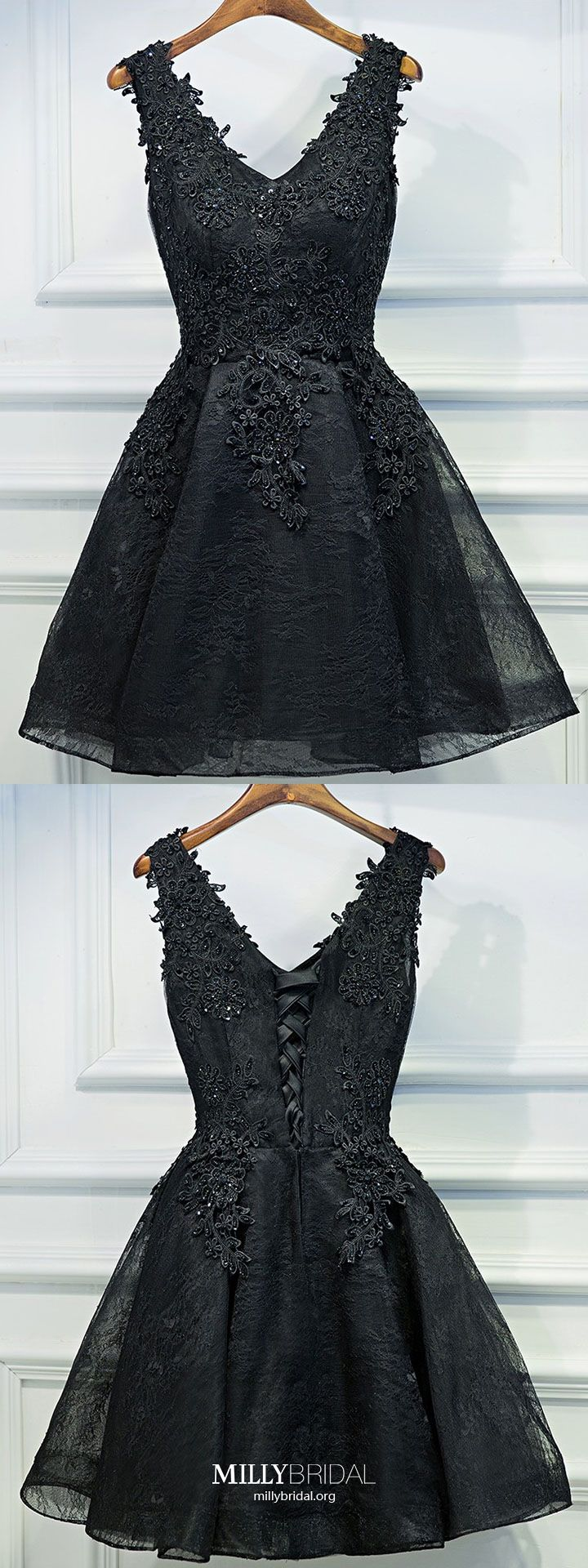 Black homecoming dresses short lace prom dresses for teens modest
