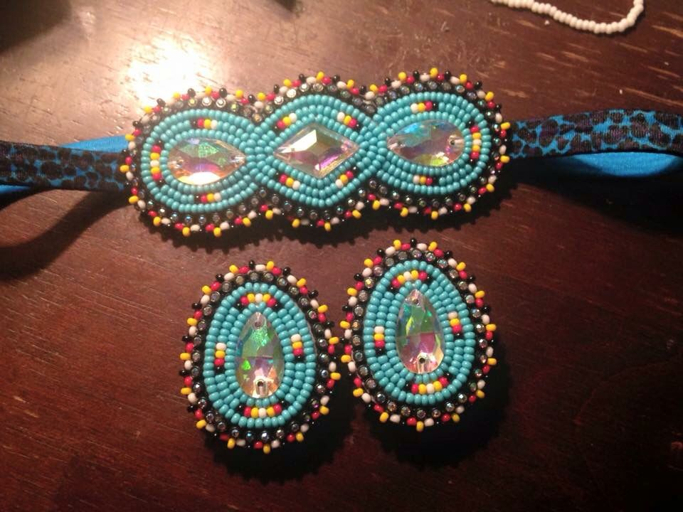 Remarkable Native american beaded rosettes strips headbands what necessary