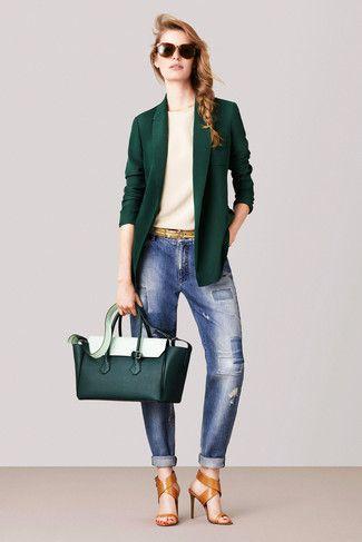 Combinar blazer verde mujer