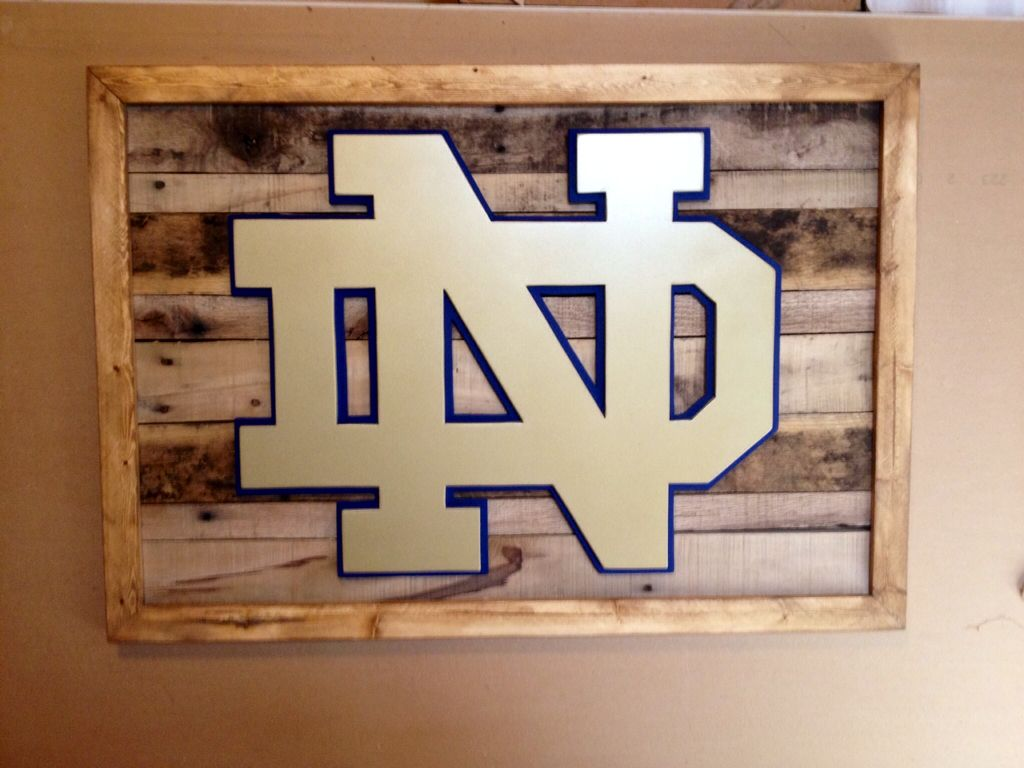 Notre Dame 3-D wood sign. Reclaimed wood sign. 3-D sports sign ...