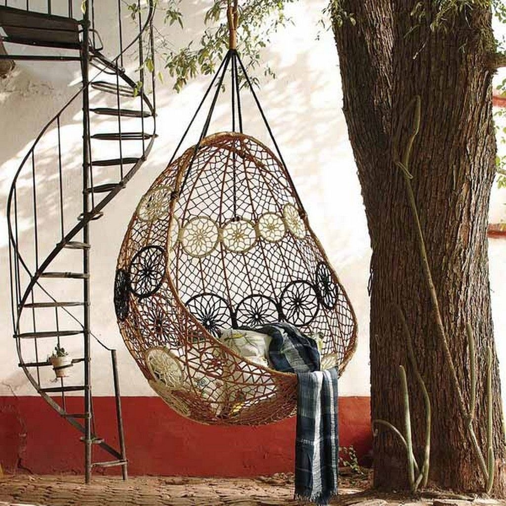 Outdoor Hammock With Stand Under A Tree Near The Stairs