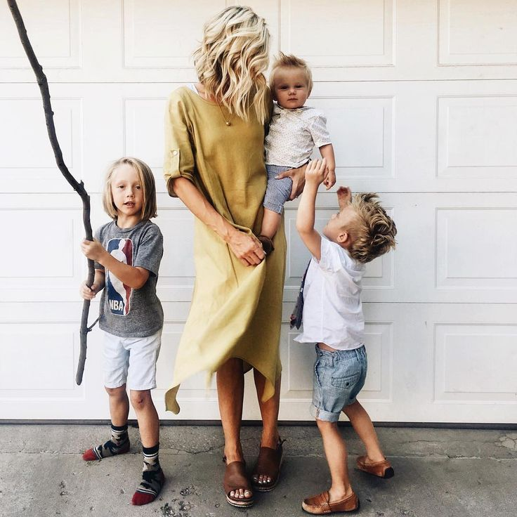 Blonde mom and son