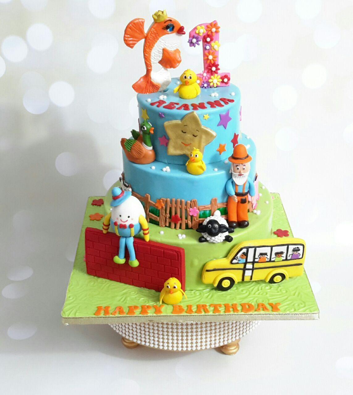 Nursery Rhyme Theme Cake Designed As Per The 5 Rhymes We