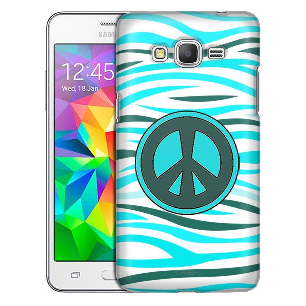 Samsung Grand Prime Peace on Turquiose White Zebra Print Slim Case