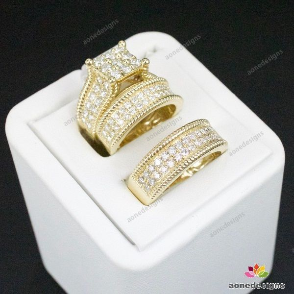 14k Yellow Gold 3 Piece Matching Wedding Set 3 25 Ct Tdw Round