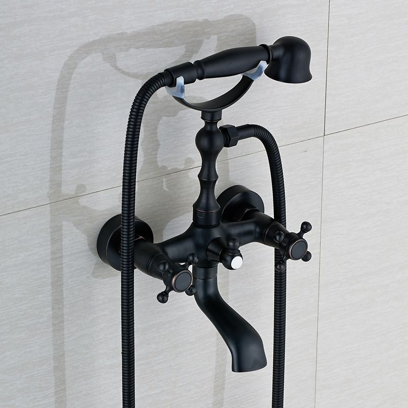 Oil Rubbed Bronze Wall Mount Bathtub Faucet Dual Handles Swivel