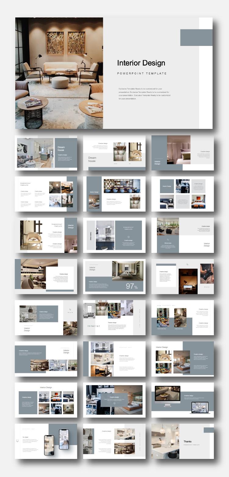 Creative Modern Interior Design Powerpoint Template Original And High Quality Powerpoint Templates Interior Design Portfolio Layout Portfolio Design Layout Architecture Portfolio Design