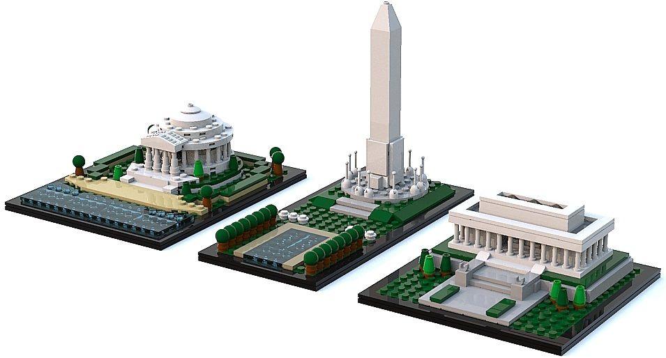 Mini Jefferson Memorial Washington Monument Lincoln Memorial