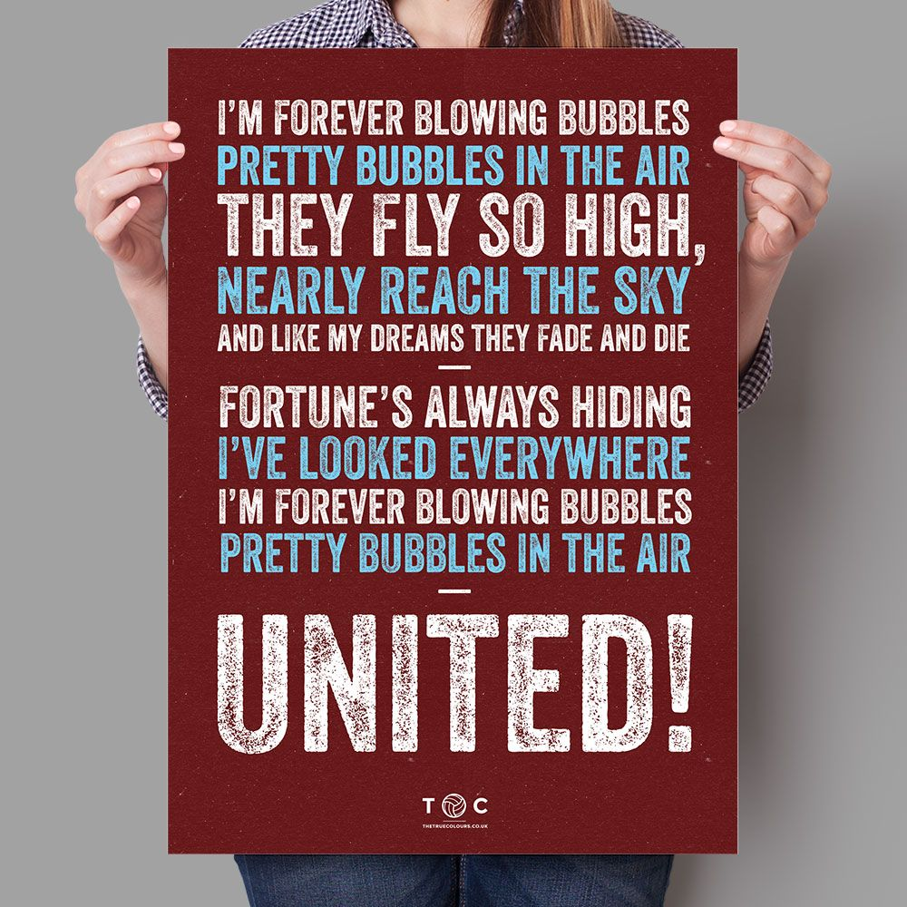 West Ham United Blowing Bubbles Song Poster West Ham United West Ham West Ham Badge