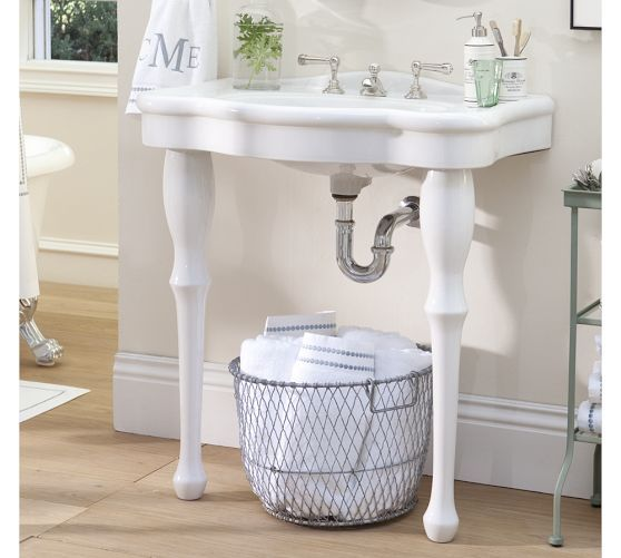 Parisian Pedestal Double Sink Console: Parisian Pedestal Single Sink Console $499 Pottery Barn 32