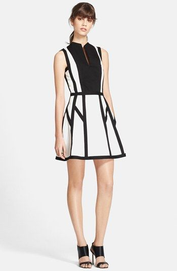 595 White And Black Skater Dress Robert Rodriguez Graphic Spear Fit Flare