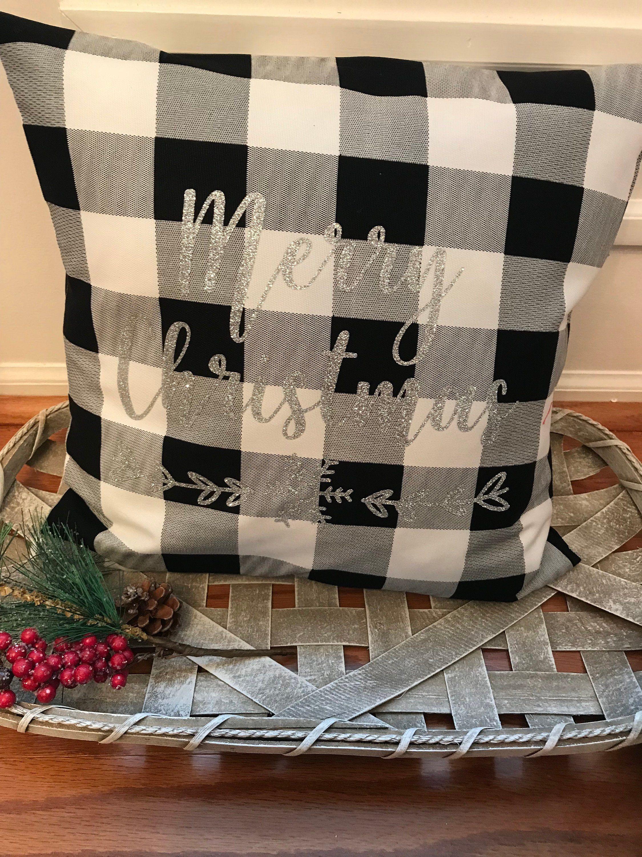 Buffalo Check Farmhouse Plaid Pillow Black White