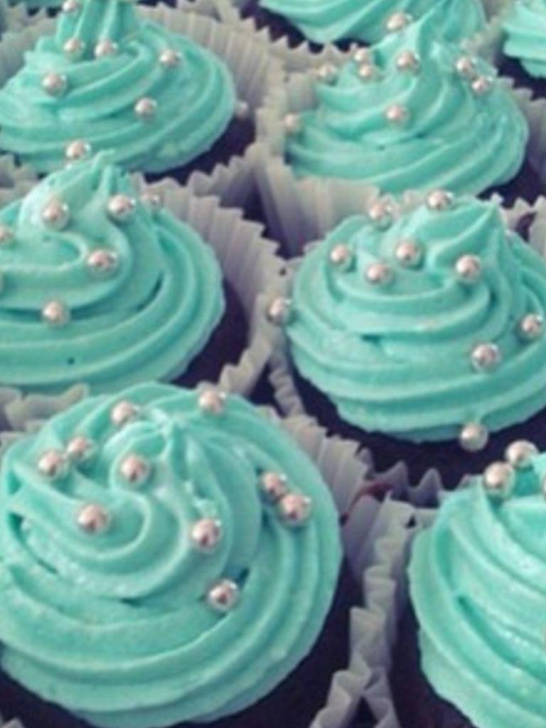 Teal Cupcakes Dahlias Bridal Shower Wedding Cupcakes