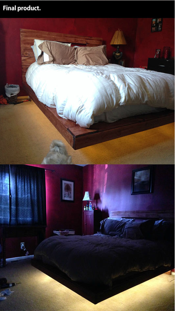 How To Build a floating bed with lights underneath