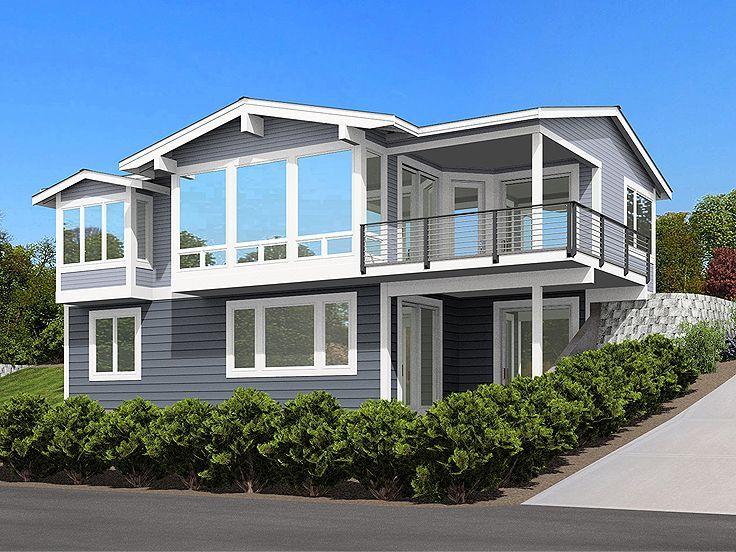 Plan 035h 0148 Sloping Lot House Plan Garage House Plans Lake House Plans