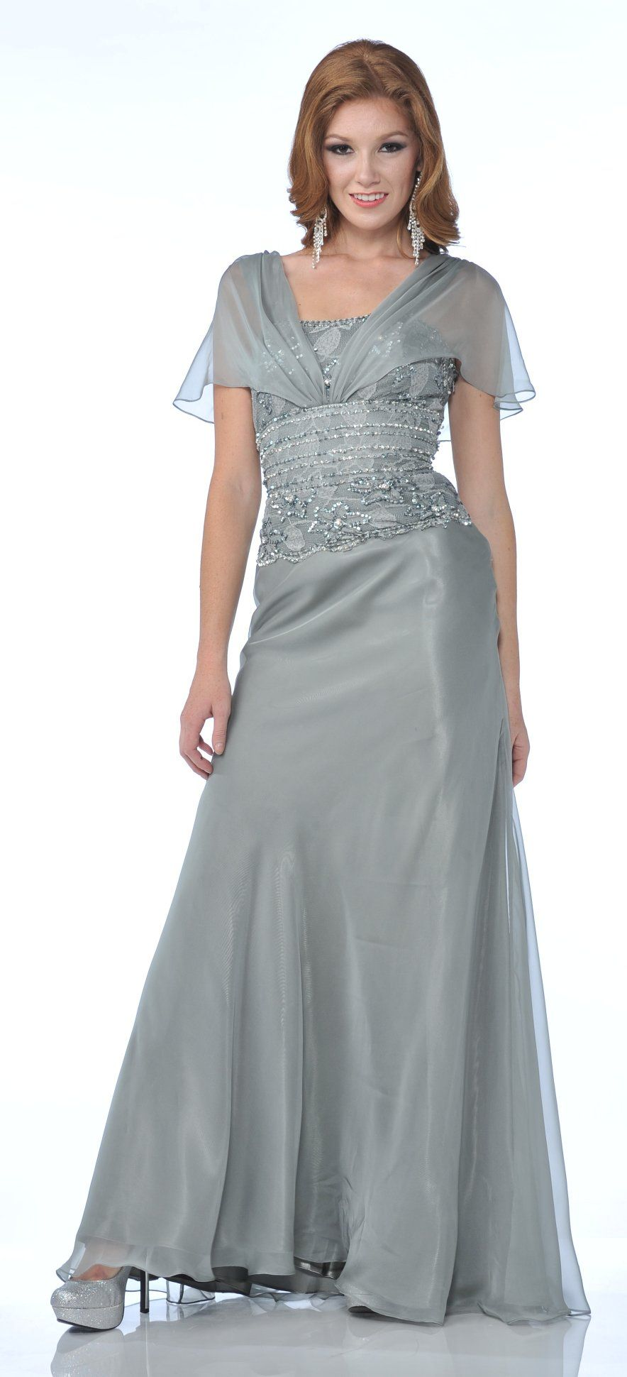 Clearance lace short sleeve silver long chiffon satin mother of