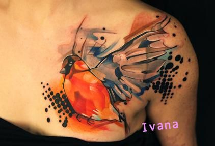 Watercolour Sparrow Tattoo. overall Great Combo - Emm.