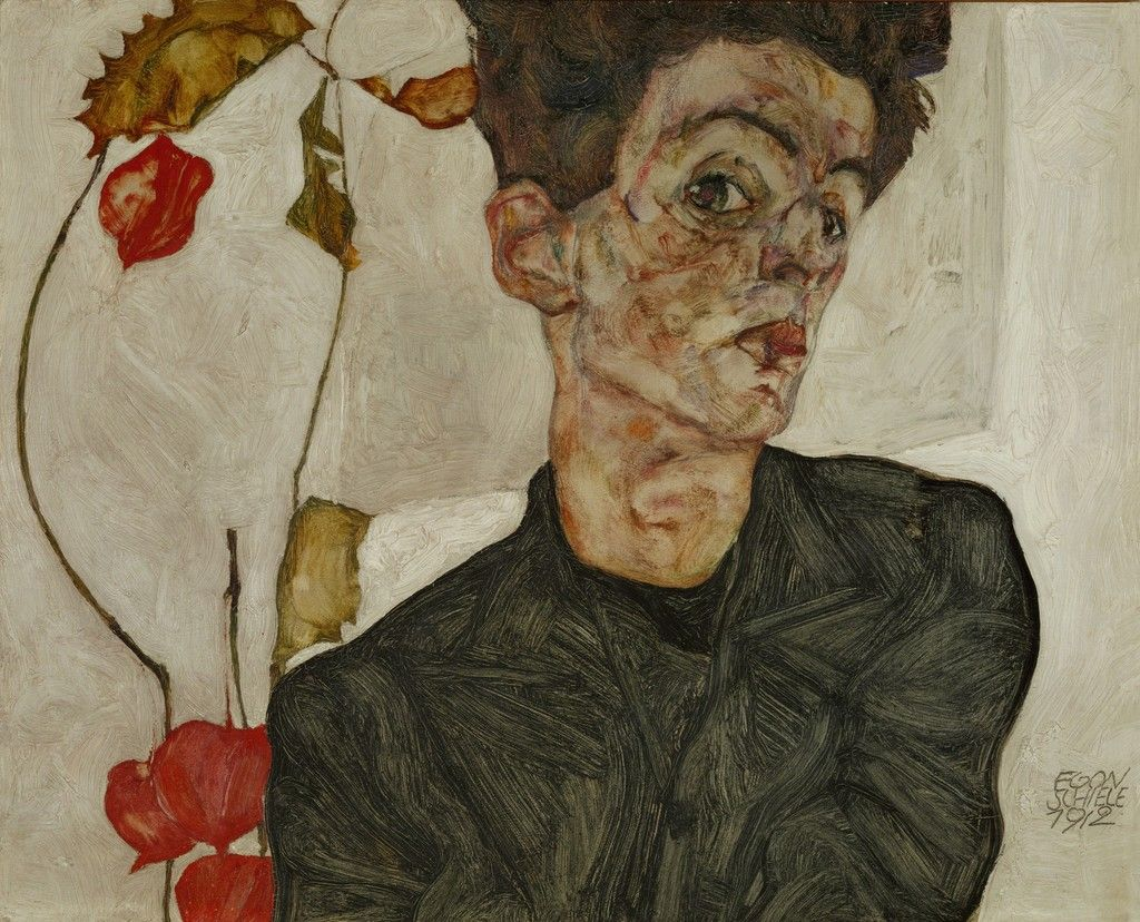 Watercolor art history brush - Egon Schiele Selfportrait With Chinese Lantern Fruit Individual Art Card Order At Discounted Prices