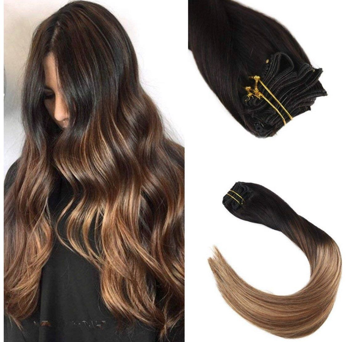 14inch Balayage Remy Human Hair Clip in Extensions Ombre