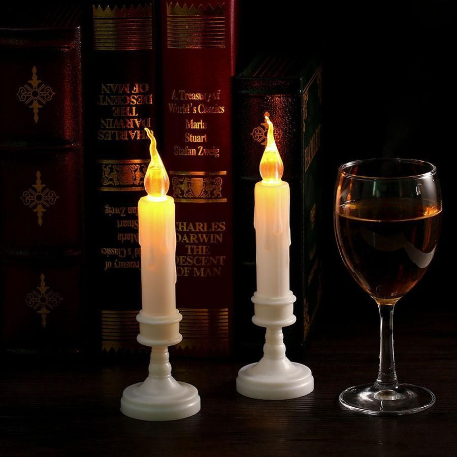 Pcs home decor led candle light yellow flicker electric flameless