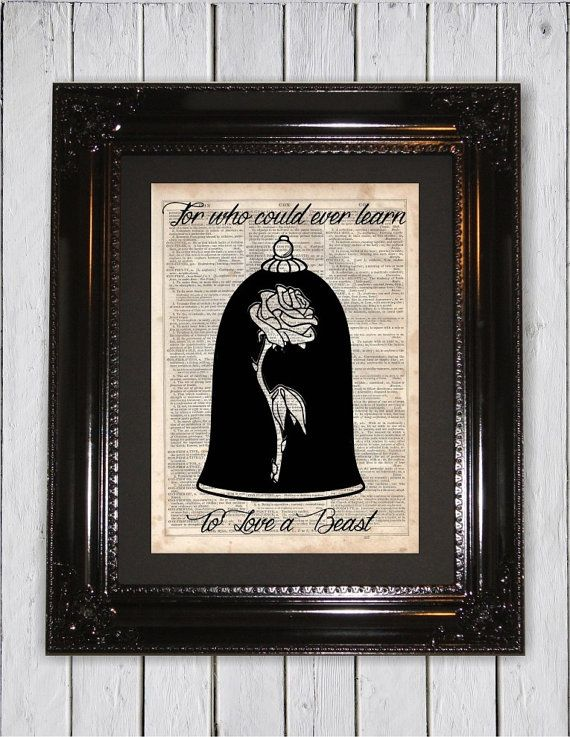 Beauty And The Beast Inspired Enchanted Rose Quote Dictionary Art
