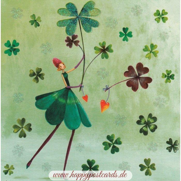 Auf dieser glücksbringenden Postkarte von Mila Marquis siehst Du eine grün gekleidete Frau, sie von vierblättrigen Kleeblätter... Postkarten kaufen | Online Shop