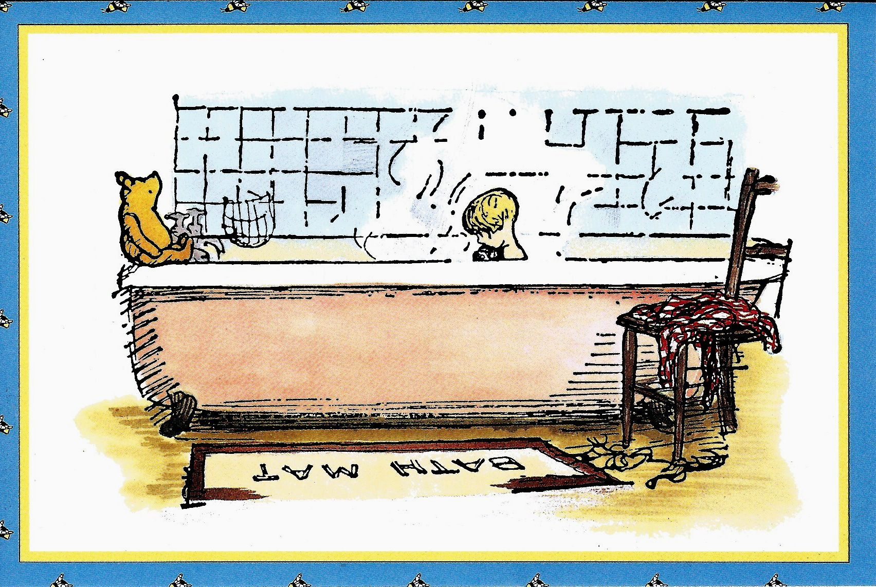 One day when Pooh Bear had nothing else to do, he thought he would do something, so he went round to Piglet's house to see what Piglet was doing. [The House On Pooh Corner, 1928]