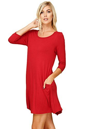 d22d7b56ead61a Annabelle Women's Comfy 3/4 Sleeve A-Line Trapeze Scoop Neck Swing Dresses  with Pockets